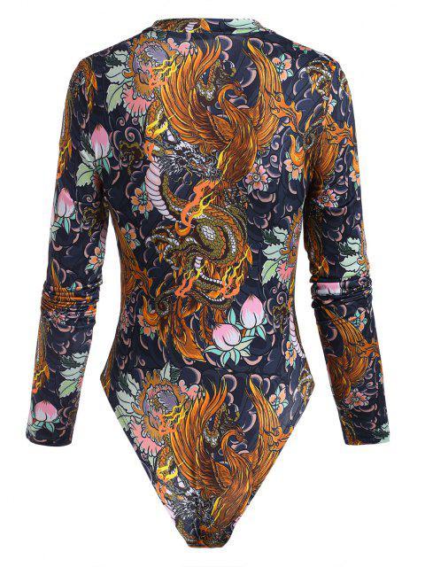 buy Dragon Peach Flower Oriental Mock Neck Bodysuit - MULTI L Mobile