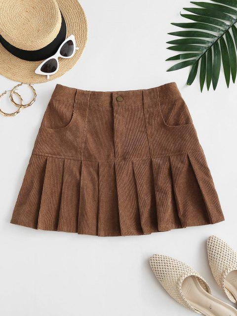women ZAFUL Preppy Corduroy Mini Pleated Skirt - DEEP COFFEE S Mobile