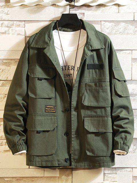 shop Letter Patched Multi Pockets Jacket - ARMY GREEN 2XL Mobile