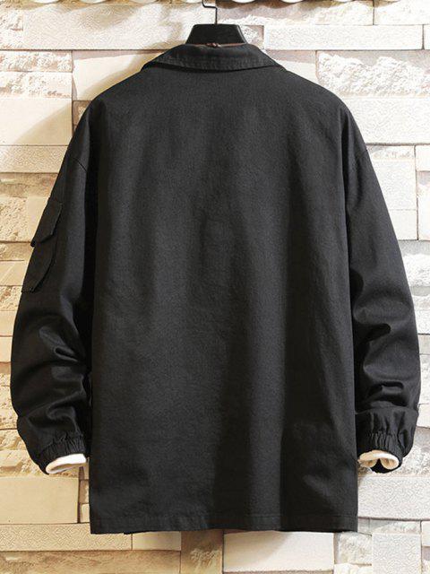 women Letter Patched Multi Pockets Jacket - BLACK 2XL Mobile