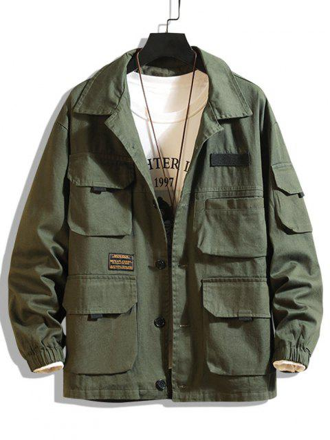 trendy Letter Patched Multi Pockets Jacket - ARMY GREEN XL Mobile