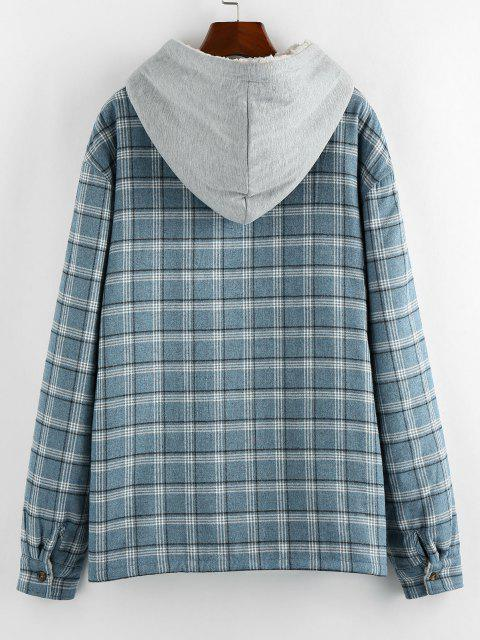 outfits ZAFUL Plaid Pattern Teddy Lined Hooded Shirt Jacket - LIGHT BLUE 2XL Mobile