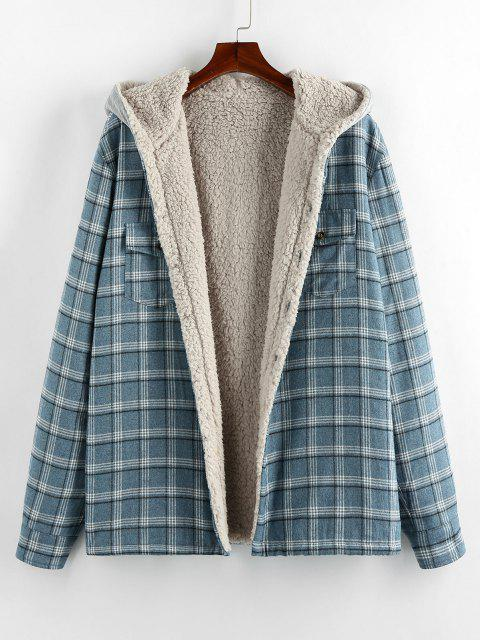 ZAFUL Plaid Pattern Teddy Lined Hooded Shirt Jacket - أزرق فاتح 2XL Mobile