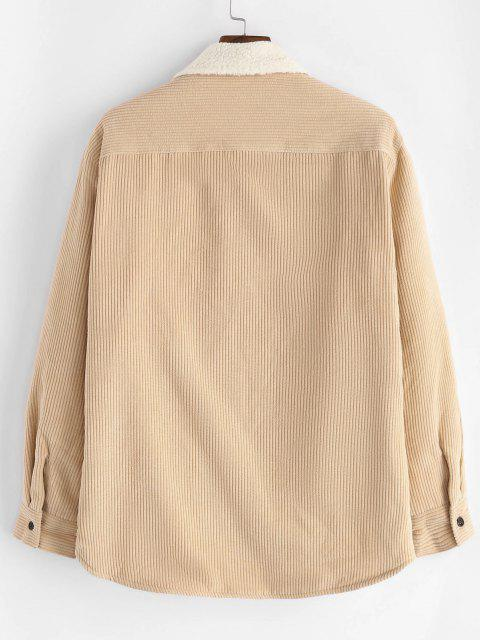 lady Flap Pocket Teddy Lined Corduroy Jacket - LIGHT YELLOW 2XL Mobile