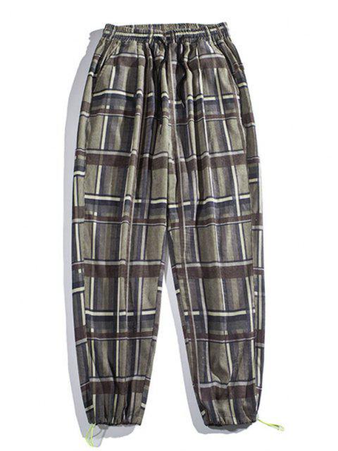 new Plaid Beam Feet Pants - GREEN 3XL Mobile
