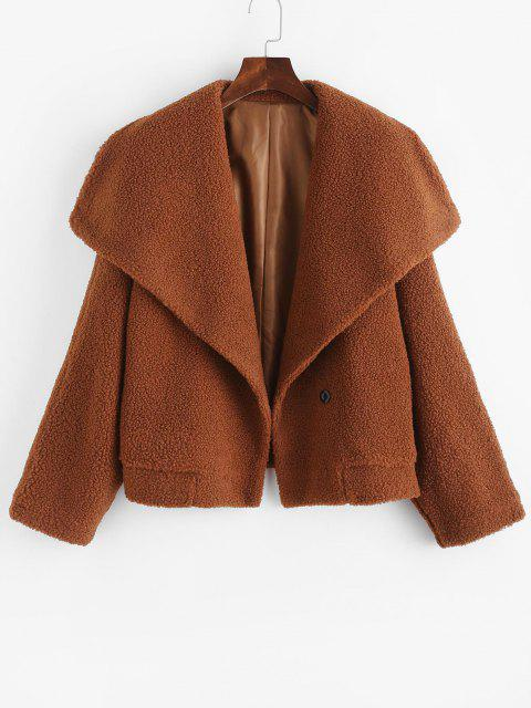 trendy One Buttoned Solid Borg Teddy Coat - COFFEE L Mobile