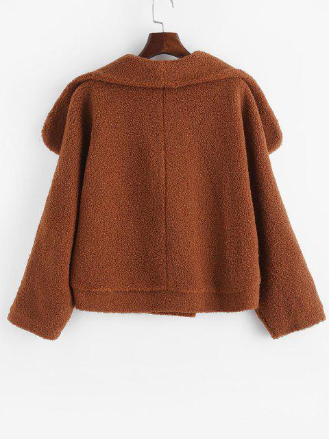 outfits One Buttoned Solid Borg Teddy Coat - COFFEE M Mobile