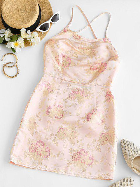 outfits Criss Cross Floral Jacquard Oriental Slinky Dress - LIGHT YELLOW M Mobile