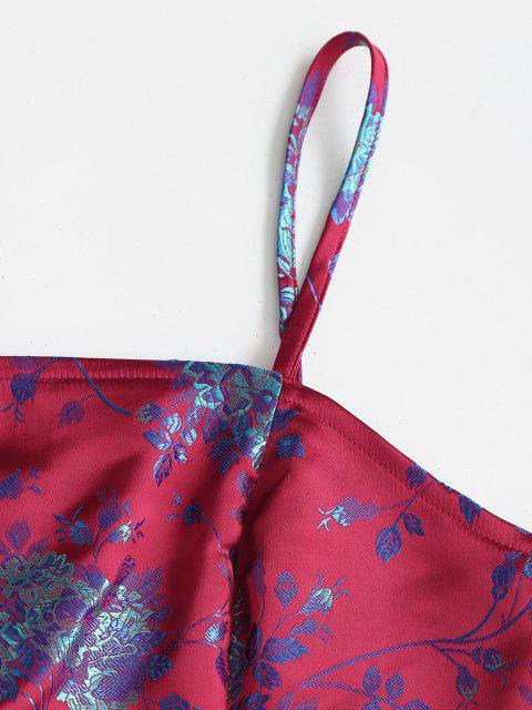 Camisole Courte Croisée Fleur en Brocart Zippée Au Dos - Rouge L Mobile