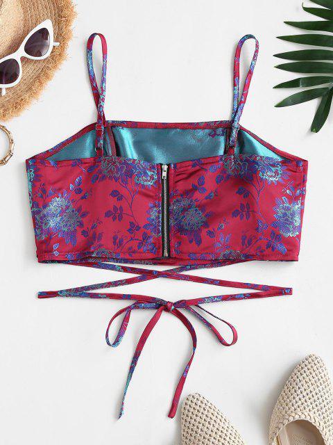 fashion Flower Brocade Back Zip Crisscross Crop Camisole - RED M Mobile