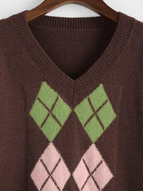 ZAFULアーガイル柄Vネックゆったりセーター - ディープコーヒー S Mobile