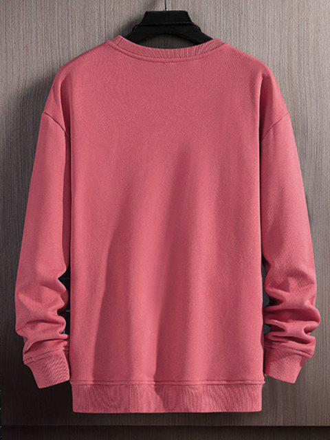affordable Plaid Striped Pattern Casual Sweatshirt - BEAN RED XS Mobile