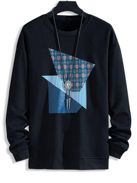 ladies Plaid Striped Pattern Casual Sweatshirt - BLACK M Mobile