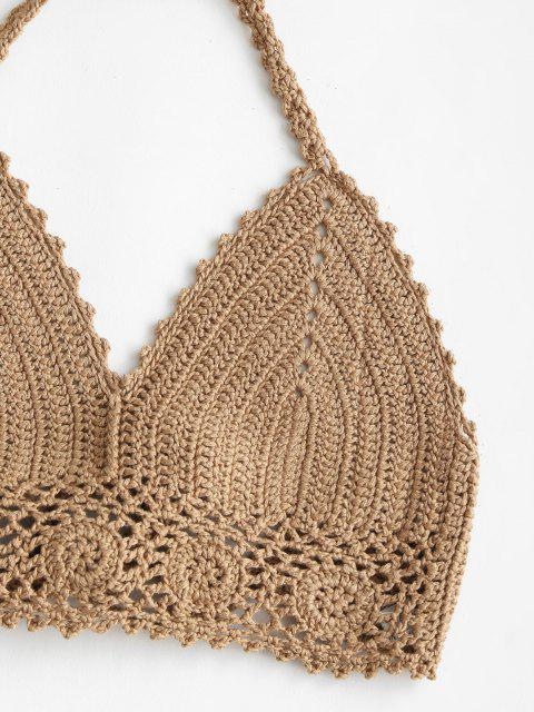 best Halter Crochet Self-tie Bikini Top - CAMEL BROWN L Mobile
