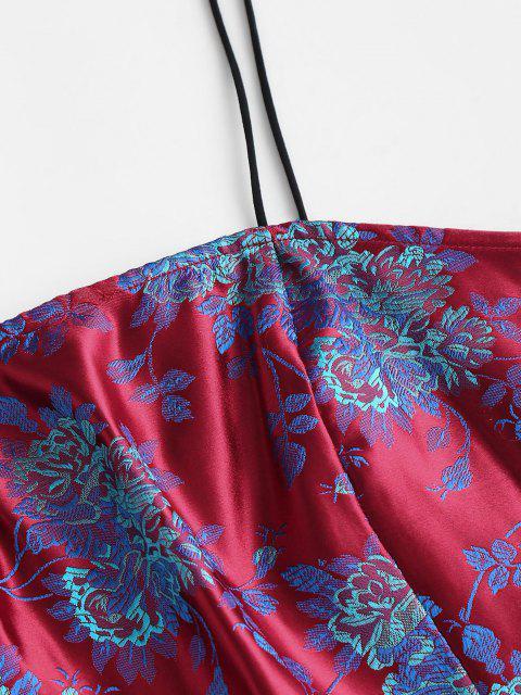 outfit Flower Brocade Smocked Slit Skirt Set - RED M Mobile