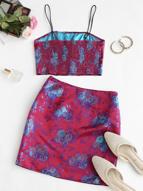 Conjunto de Falda con Corte Smocked de Flores - Rojo L Mobile