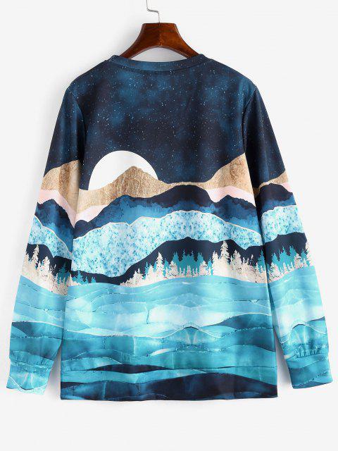Sweat-shirt Lâche Imprimé Lune et Forêt Galaxie - Multi 2XL Mobile