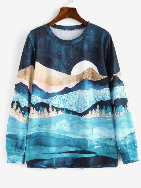 latest Galaxy Moon Forest Print Loose Sweatshirt - MULTI M Mobile