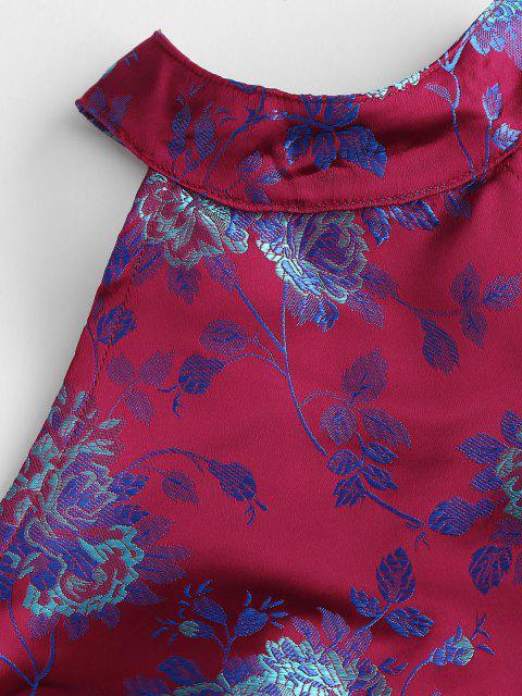 hot Back Zipper Floral Jacquard Oriental Crop Top - RED M Mobile