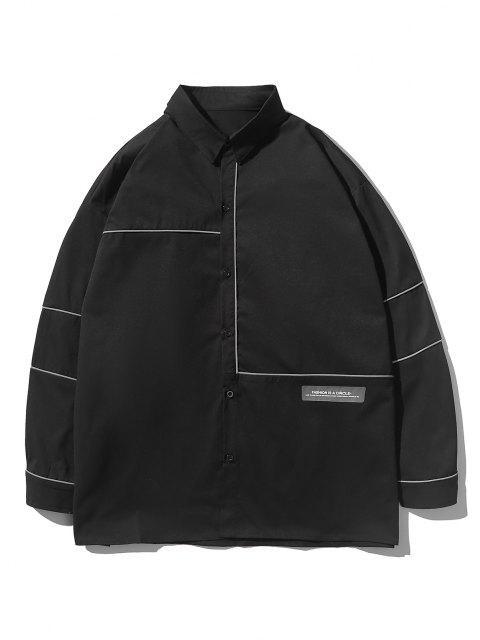 buy Button Up Stripe Shirt - BLACK 3XL Mobile