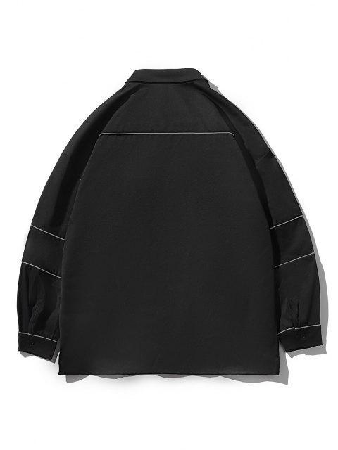ボタン付きストライプシャツ - ブラック 3XL Mobile