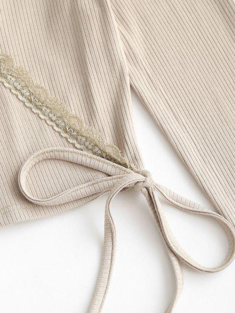 latest ZAFUL Plunge Rib-knit Surplice T Shirt - LIGHT KHAKI M Mobile