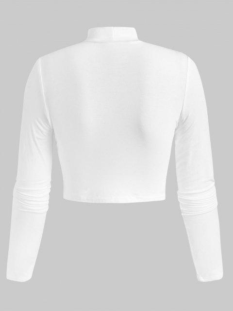T-Shirt Corta con Collo Alto - Bianca S Mobile