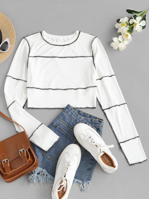 ZAFUL Knit Crop T-Shirt - Weiß L Mobile