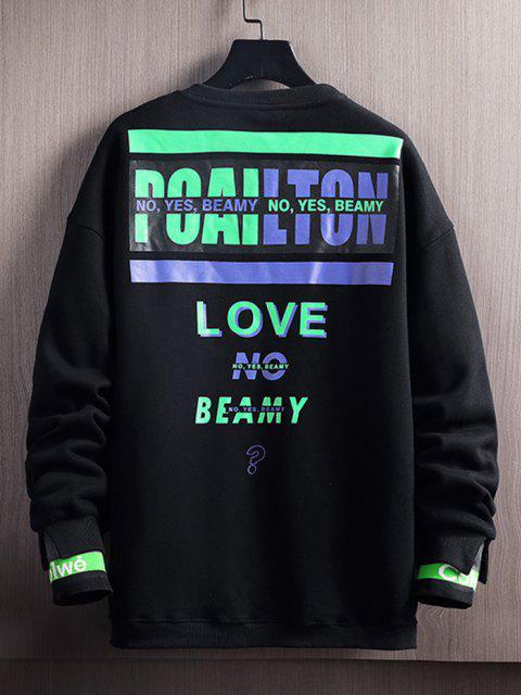 latest Love No Beamy Letter Contrast Fleece Lined Sweatshirt - BLACK M Mobile
