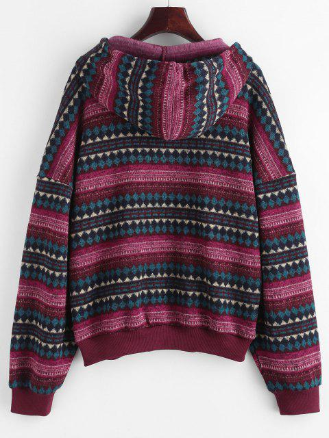 chic ZAFUL Drop Shoulder Ethnic Print Hoodie - DEEP RED L Mobile