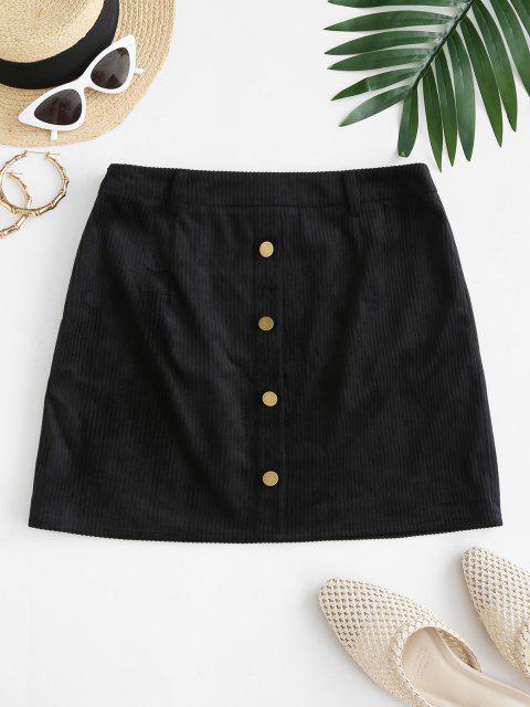 unique ZAFUL Mock Button Mini Sheath Skirt - BLACK M Mobile