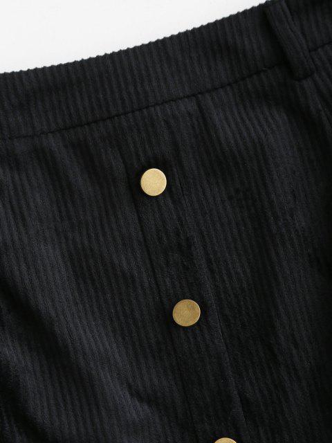 women's ZAFUL Mock Button Mini Sheath Skirt - BLACK S Mobile