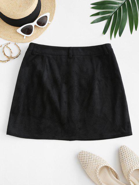 ZAFUL Mock Button Mini Sheath Skirt - أسود S Mobile