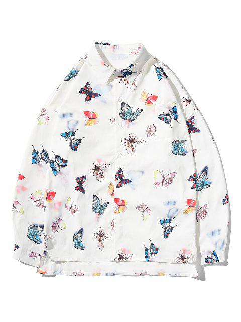 outfit Button Up Butterfly Print High Low Pocket Shirt - WHITE 2XL Mobile
