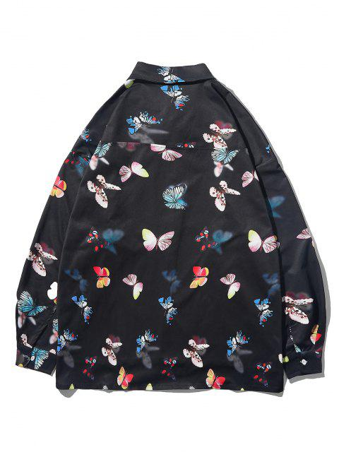 shop Button Up Butterfly Print High Low Pocket Shirt - BLACK L Mobile