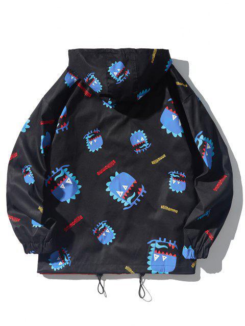 buy Cartoon Animal Letters Print Hooded Toggle Drawstring Jacket - BLACK XL Mobile