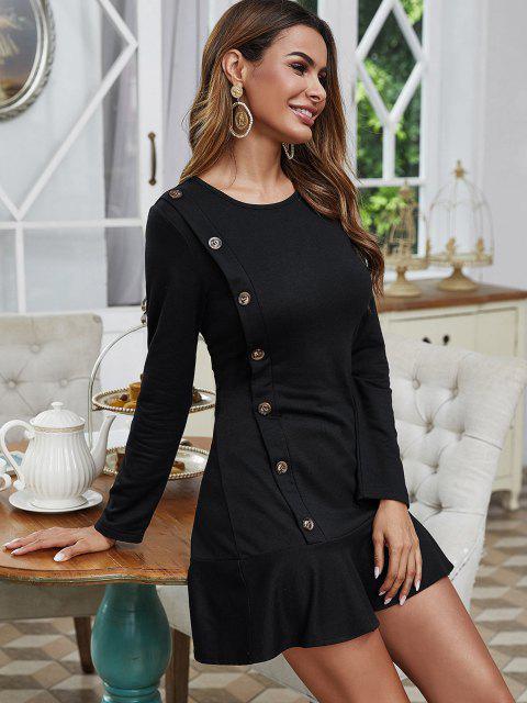 women's Mock Button Long Sleeve Ruffled Hem Dress - BLACK M Mobile