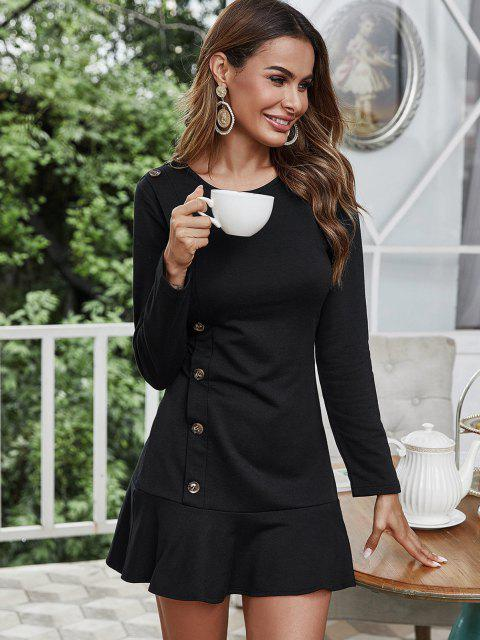 sale Mock Button Long Sleeve Ruffled Hem Dress - BLACK S Mobile