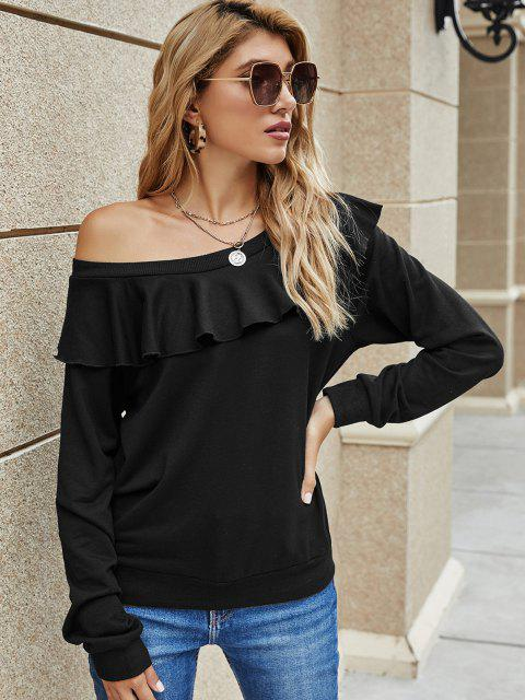 Solid Ruffles Skew Neck Sweatshirt - أسود L Mobile