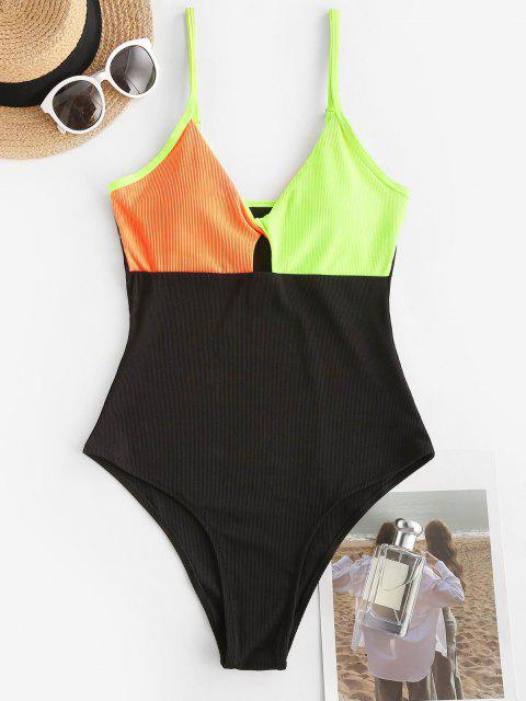 fancy ZAFUL Ribbed Colorblock Twisted Keyhole One-piece Swimsuit - BLACK XL Mobile