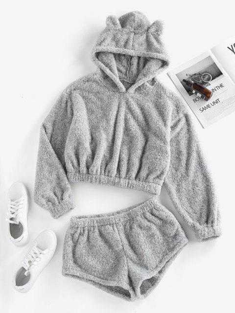 ZAFUL Flauschiges Hoodie und Shorts Co Ord Set - Grau L Mobile