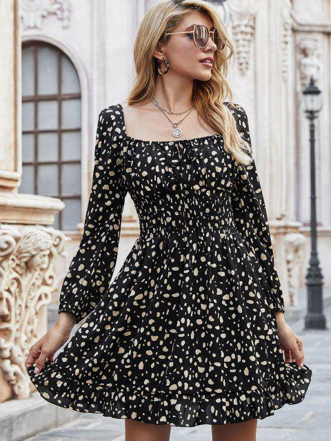 Vestido Cintura Elástica Estampado Moño - Negro L Mobile