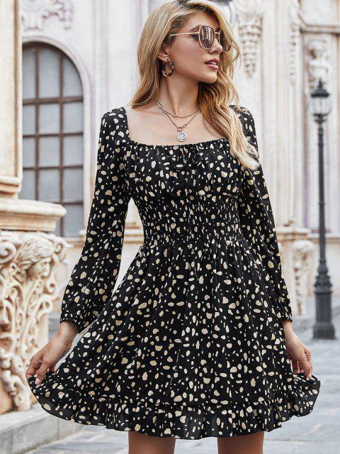 fancy Spotted Print Tie Collar Smock Waist Milkmaid Dress - BLACK S Mobile