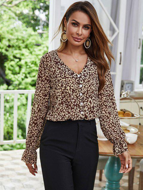 women Mock Button Leopard Poet Sleeve Blouse - COFFEE L Mobile