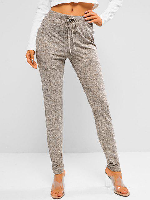 outfit ZAFUL Heathered Drawstring Knitted Leggings - LIGHT COFFEE L Mobile