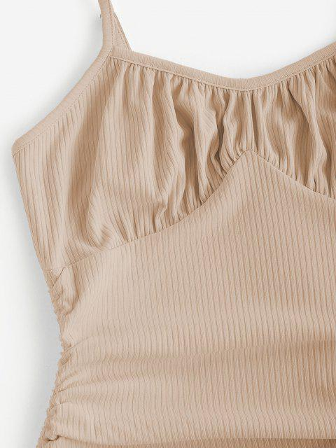 women ZAFUL Rib-knit Side Cinched Ruched Bodycon Bustier Dress - LIGHT KHAKI L Mobile