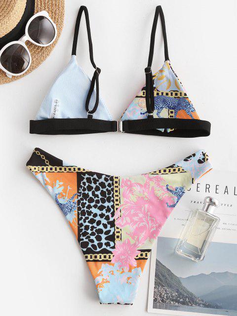 Costume da Bagno Bikini Stampato di ZAFUL con Scollo Profondo - Azzurro S Mobile