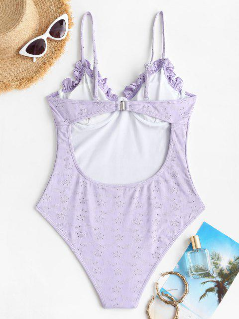 ZAFUL Frilled Broderie Anglaise Underwire Bustier One-piece Swimsuit - ضوء ارجواني M Mobile