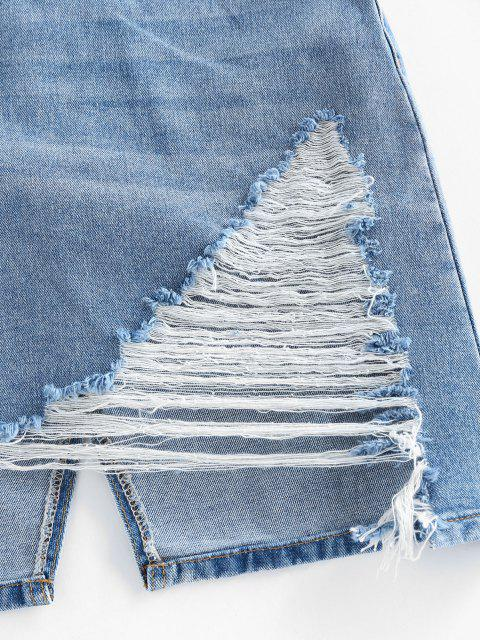 affordable Ripped Asymmetric Denim Skirt - LIGHT BLUE M Mobile