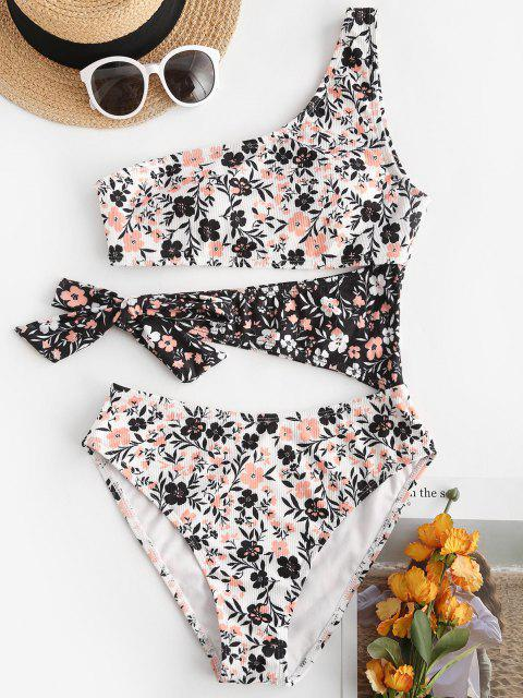 women ZAFUL Floral Print One Shoulder Cutout Tied One-piece Swimsuit - WHITE S Mobile